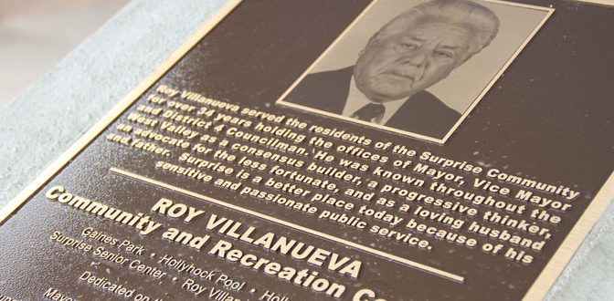 Roy Villanueva rec center plaque