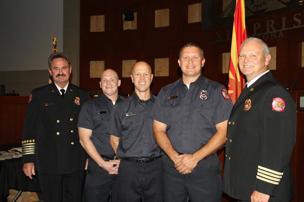 Engineer Jason LeBoeuf, Eng. Robert Jenkins & Eng. David Hackett with Chief Abbott & Asst. Chief Johnston.