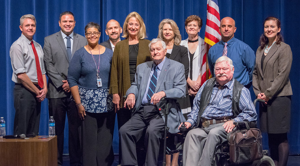Former Canadian Prime Minister, John Turner and panel members for the February 7, 2018 Town Hall Meeting.