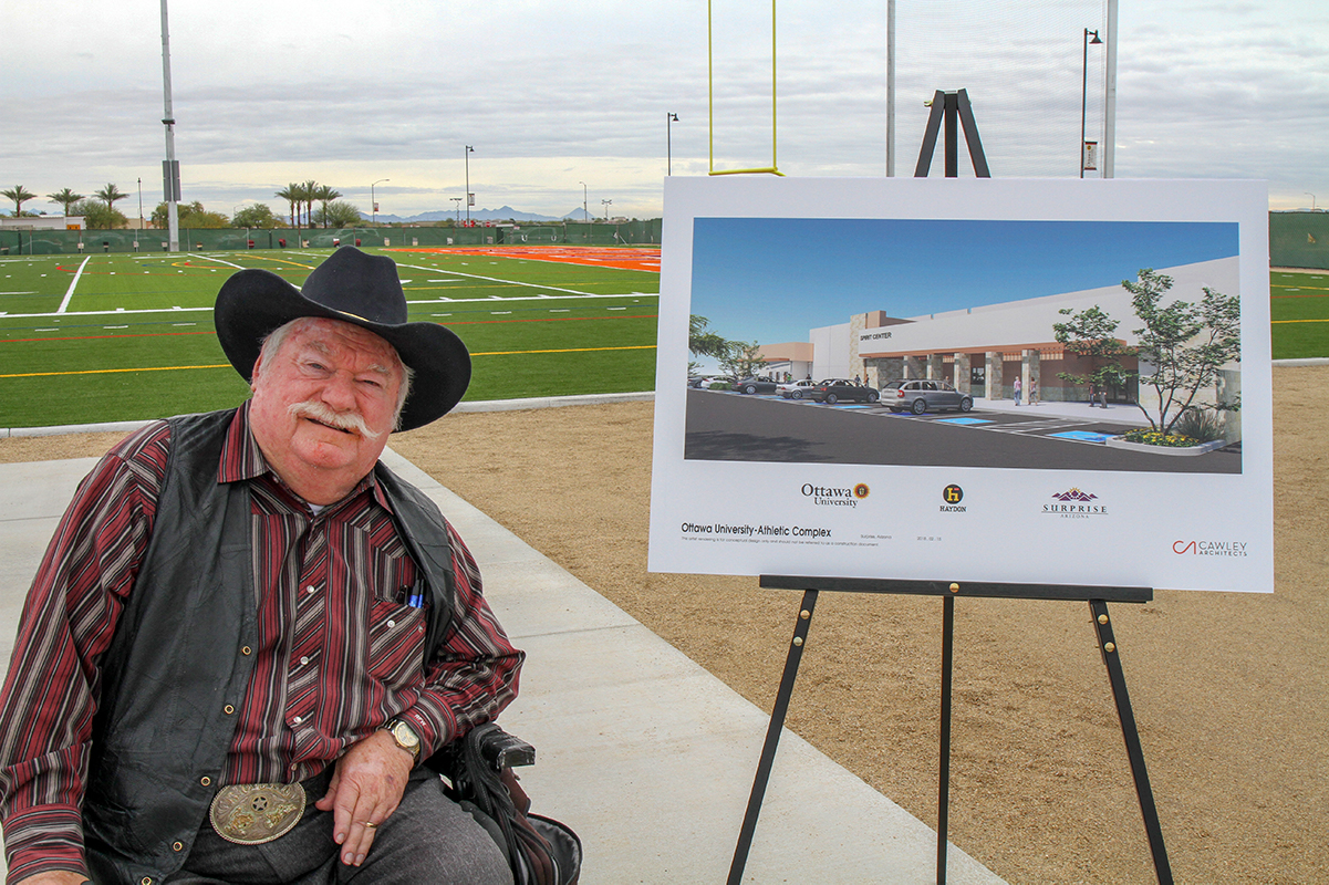 Councilmember Winter at the site of the future O'Dell Center for Athletics