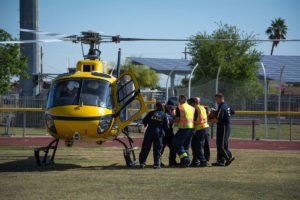 Helicopter recivies patient at Governor's Office of Highway Safety Mock Crash