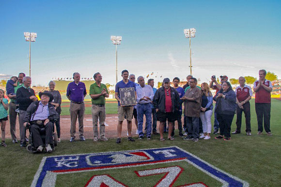Mark Coronado's family on Surprise Stadium field to receive his honors