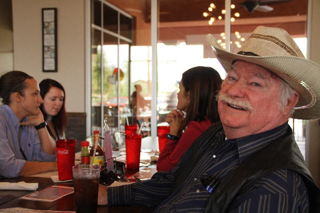 Councilmember Winters enjoying a meal during the AZ Fry Guy Grand Opening