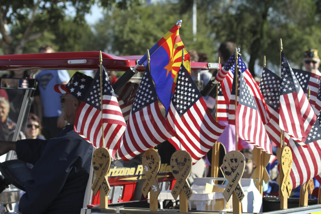American flags at the 2018 Veterans Day Parade