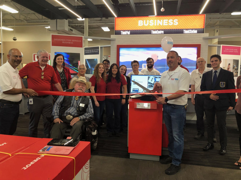 Vice Mayor Winters, Councilmember Hayden, and Councilmember Remley at the Lenovo ribbon cutting in Office Max.
