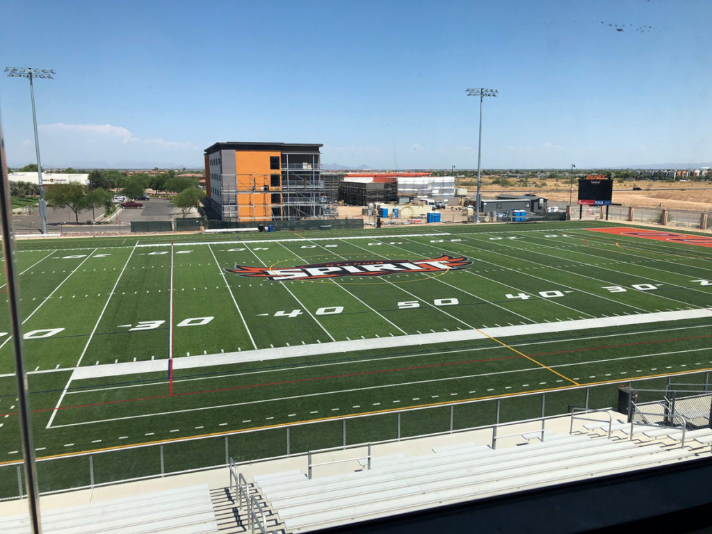 A view from the O'Dell Athletic Center of the Ottawa University field and new buildings in construction.