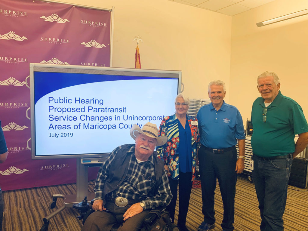 Mayor Hall, Vice Mayor Winters and Councilmembers Hayden and Remley at the Valley Metro Public Hearing.
