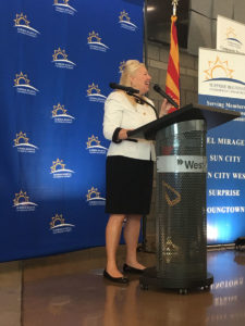 Congresswoman Debbie Lesko speaking at the Surprise Chamber of Commerce.
