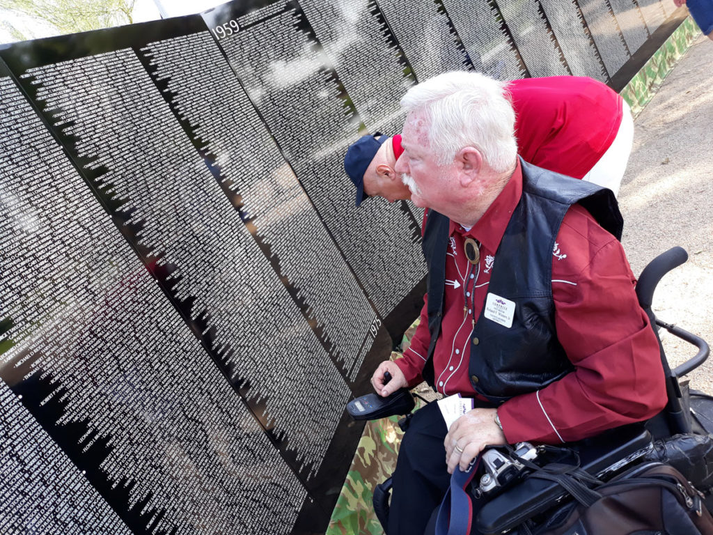 Vice Mayor Winters observes the Vietnam Moving Wall at Rio Vista Park.