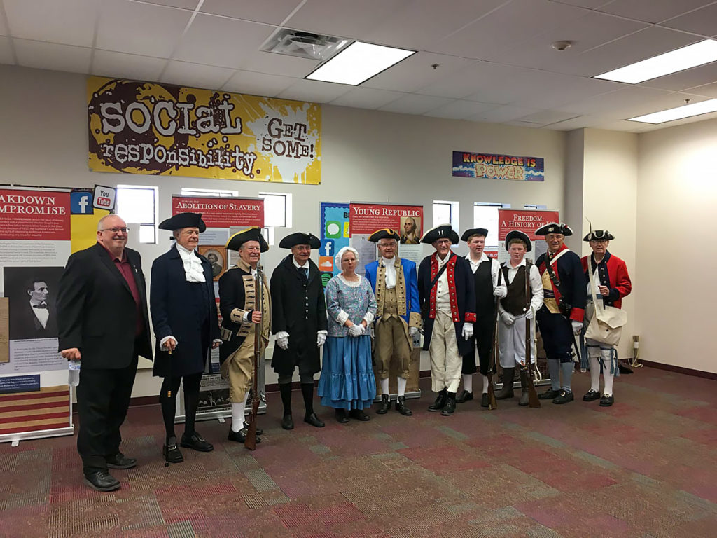 Members of Sons of Revolution at Canyon Ridge Elementary school for Constitution Day.