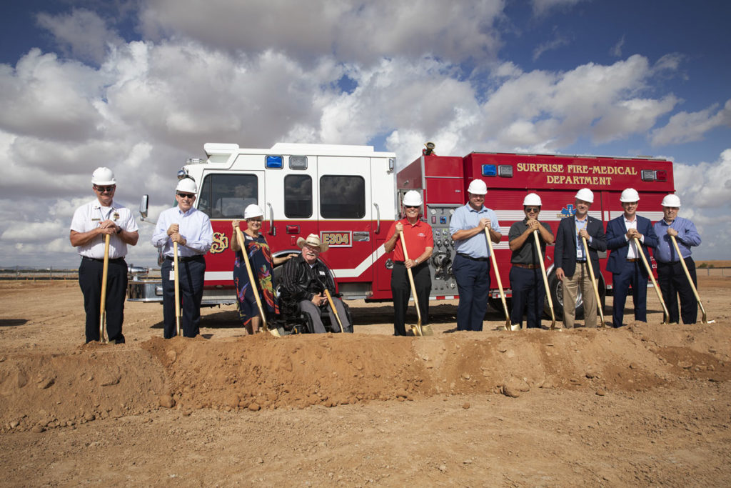 Surprise City Councilmembers break ground at the Fire Station 304 ceremony.