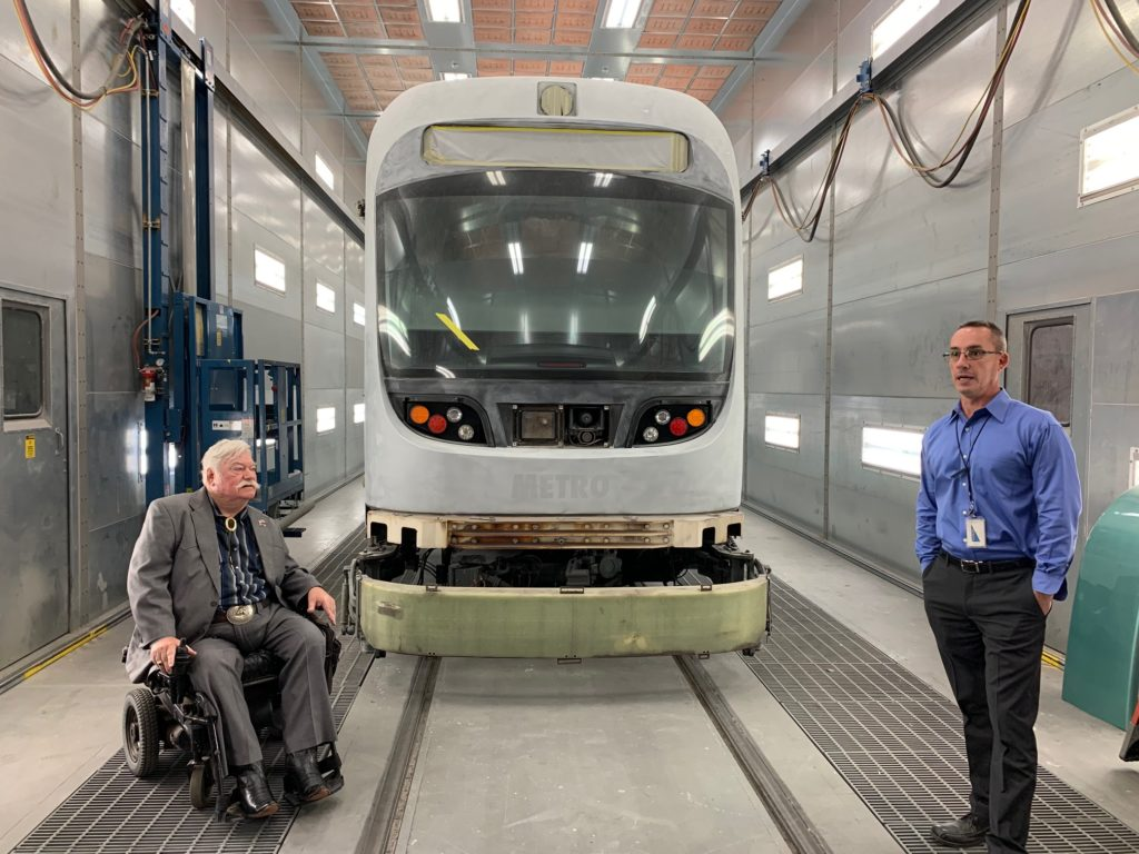 Councilmember Winters tours a Valley Metro transit building.