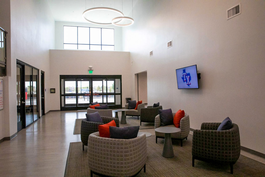 The lobby of the Texas Rangers' housing facility.