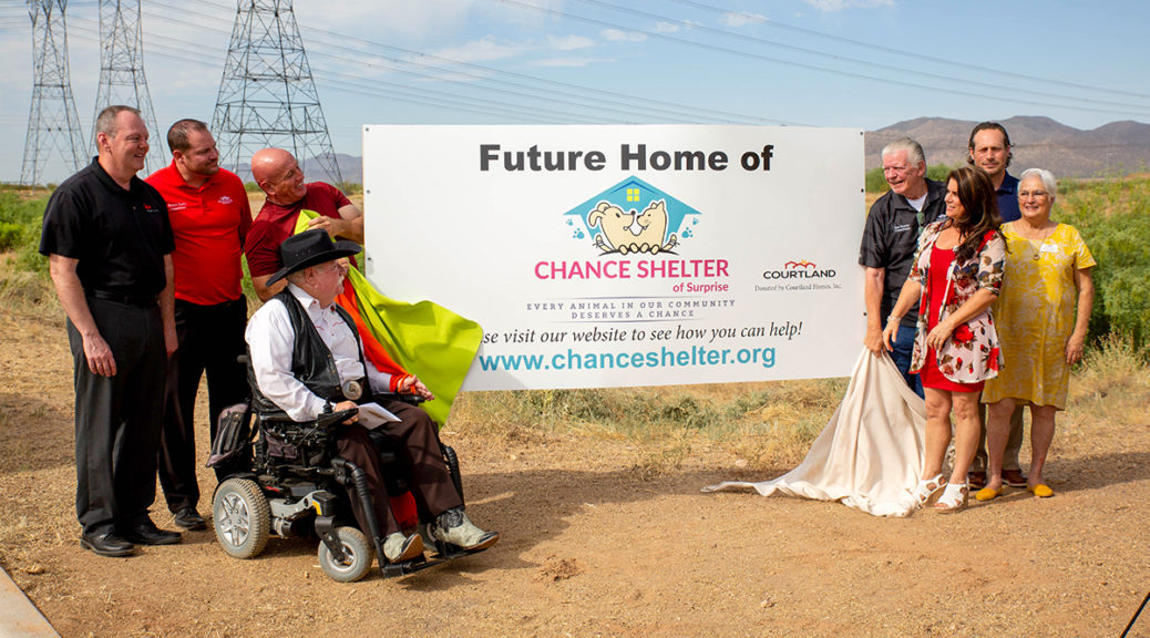 Councilmember Winters and others watch as the Future Home of Chance Shelter sign is revealed.