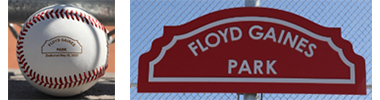 Floyd Gaines Park baseball and sign